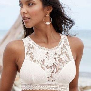Victoria's Secret Bralette High Neck Cutout White